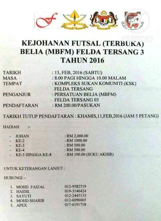 Kejohanan Futsal Terbuka Belia (MBFM) Felda Tersang 3 @ Kompleks Sukan Komuniti (KSK) Felda Tersang