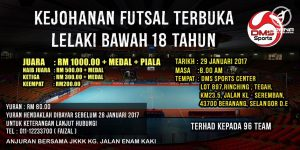 Kejohanan Futsal Terbuka Lelaki Bawah 18 Tahun @ DMS Sports Centre
