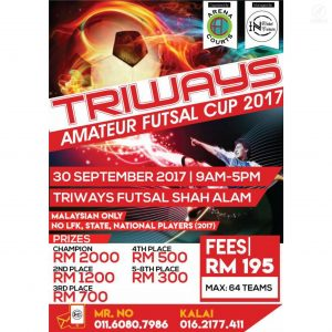 Triways Amateur Futsal Cup 2017 @ Triways Futsal Shah Alam