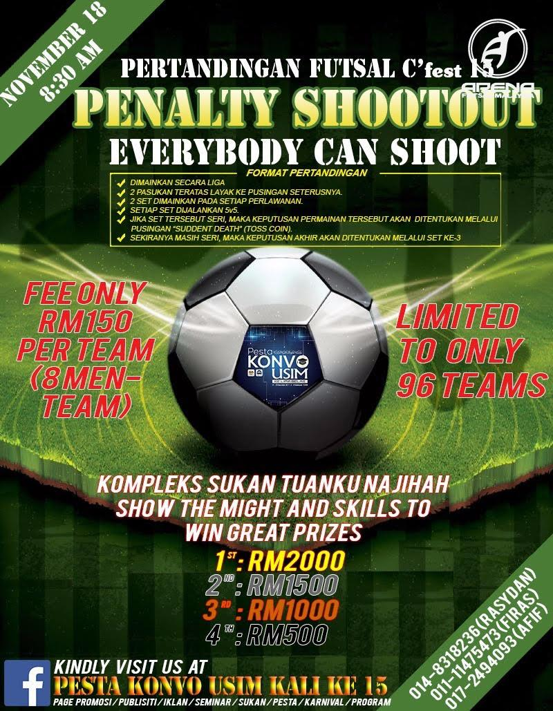 Pertandingan Futsal Penalty Shootout @ Kompleks Sukan Tuanku Najihah, Bandar Baru Nilai