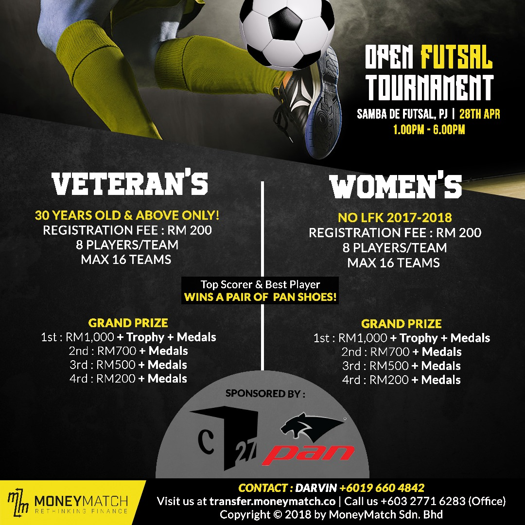 Open Futsal Tournament (Veteran's & Women's) @ Samba De Futsal, PJ