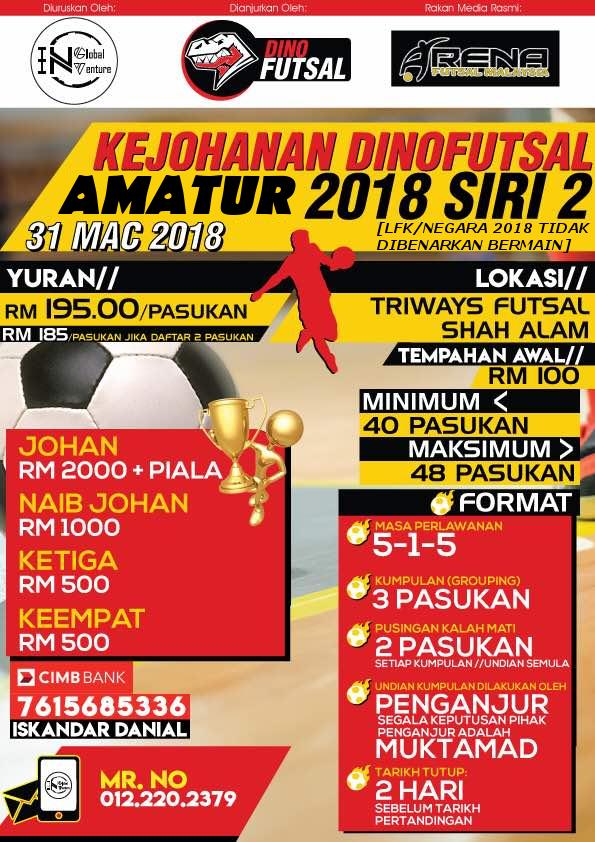 Kejohanan Dino Futsal Amatur 2018 Siri 2 @ Triways Futsal Shah Alam