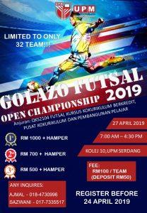 Golazo Futsal Open Championship 2019 @ Kolej 10, UPM Serdang