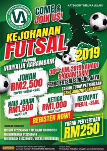 Kejohanan Futsal Terbuka 2019 Anjuran Pertubuhan Kebajikan Vidiyalin Aarambam @ Ferro Futsal Subang Jaya